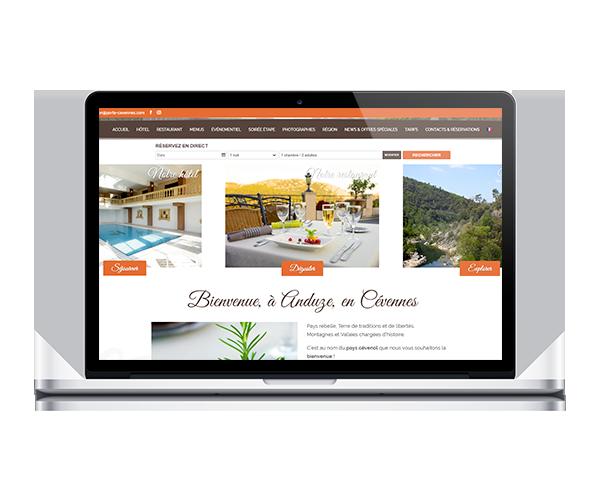 Site internet de l'hôtel restaurant la Porte des Cévennes