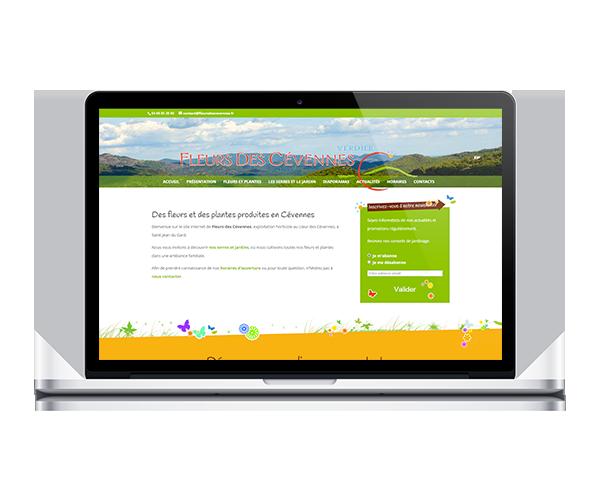 Site internet de Fleurs des Cévennes, horticulture dans le Gard