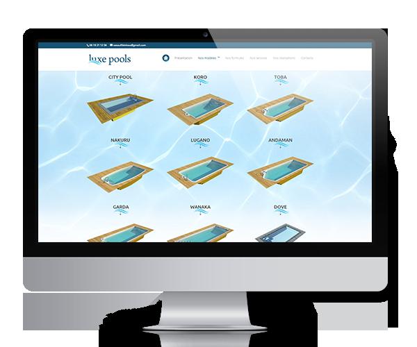 Site internet de la société Au fil de l'eau, distributeur Luxe Pools dans le Gard