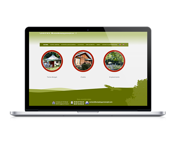 Site internet du camping du Pré Morjal