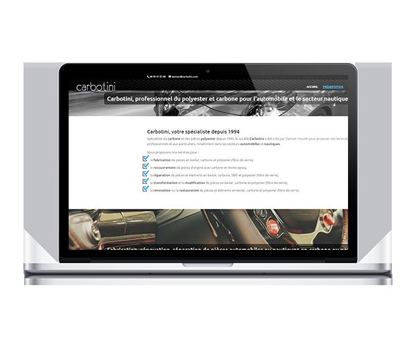 Site internet de Carbotini, création et réparation de pièces carbone et polyester