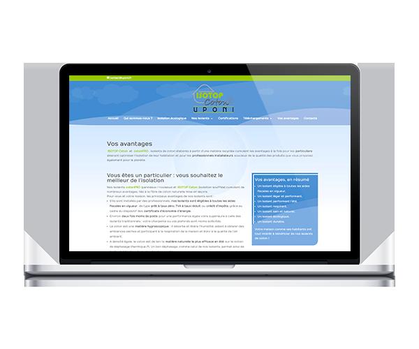 Site internet d'Uponi, isolation thermique à base de coton recyclé