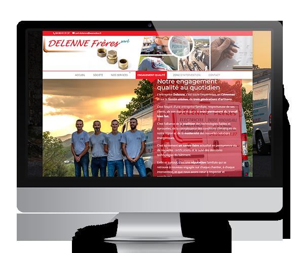 Site internet Delenne Frères - Plomberie, électricité, chauffage, énergies renouvelables sur le Gard et les Cévennes