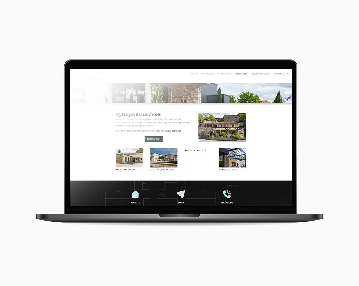 Image du site PGSL Architecture sur écran mac